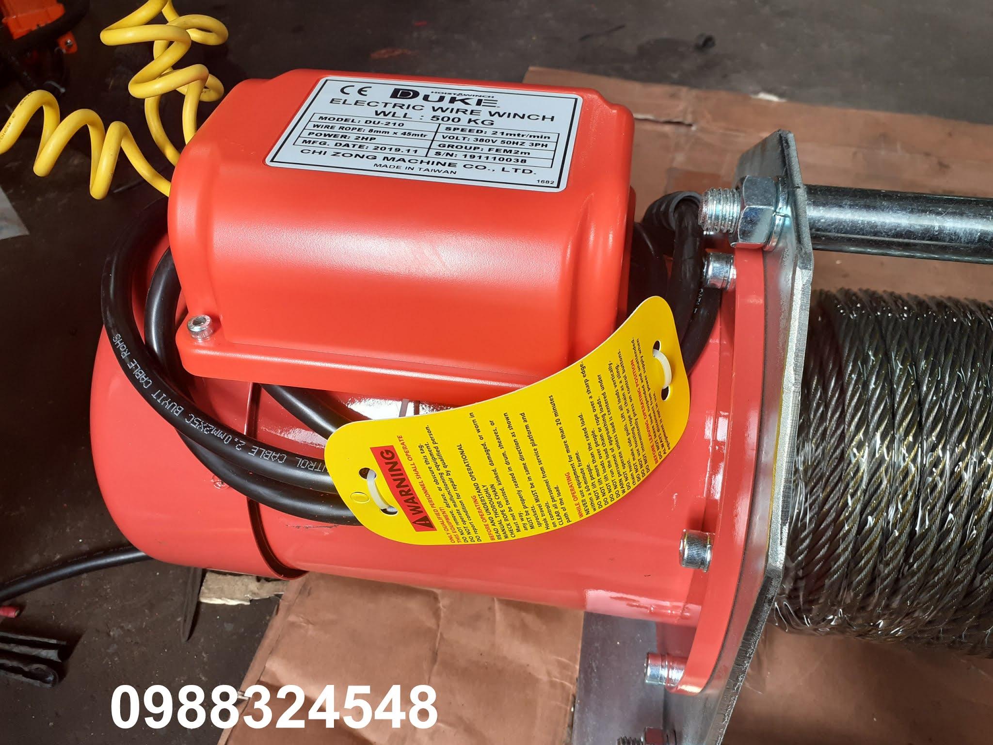 Tời cáp điện Duke  DU-210 nâng 500kg