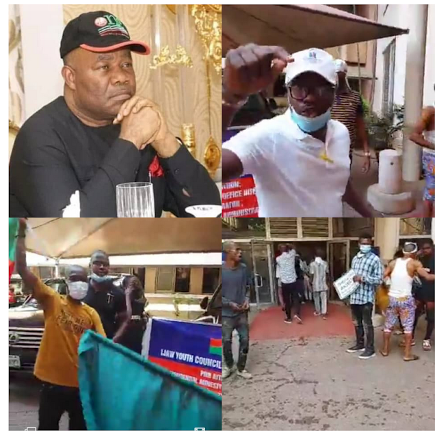 Ijaw youth storm NDDC office, demand the immediate resignation of Godswill Akpabio as Minister of Niger Delta Affairs (video)