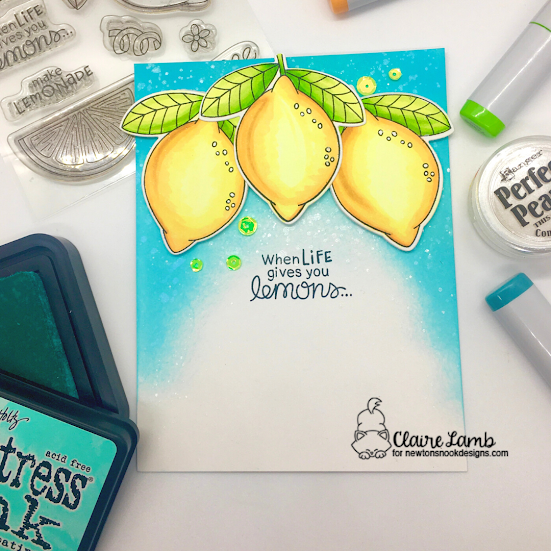 When life gives you lemons by Claire by Lemon Twist by Newton's Nook Designs; #inkypaws, #newtonsnook, #cardmaking