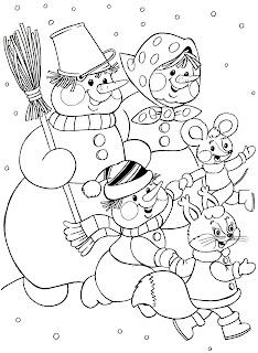 דף צביעה משפחה של בובות שלג