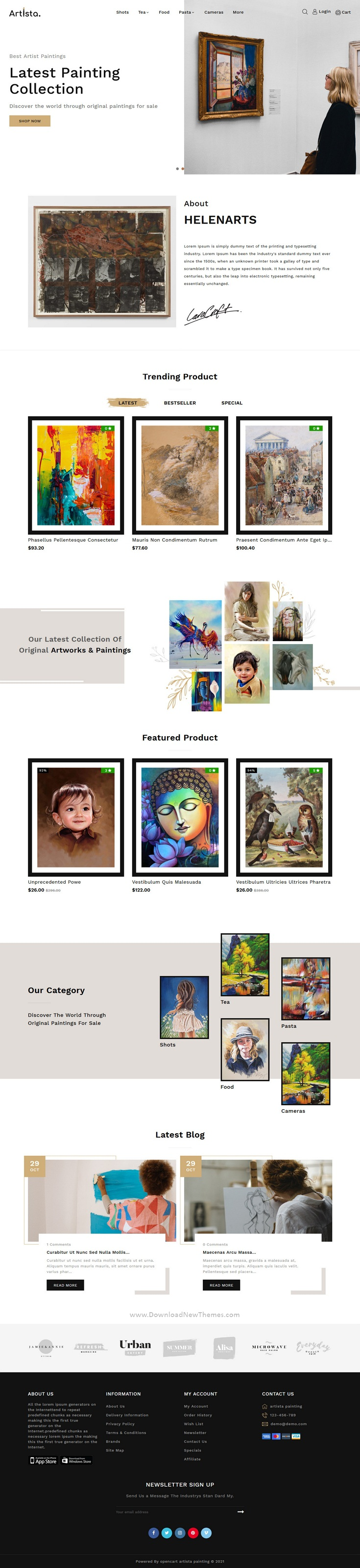 Artist and Painting Designers Agency OpenCart Theme