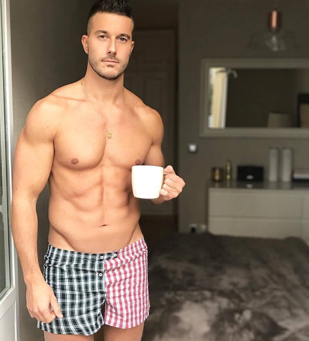 hot-fit-bare-chest-guys-drinking-morning-coffee
