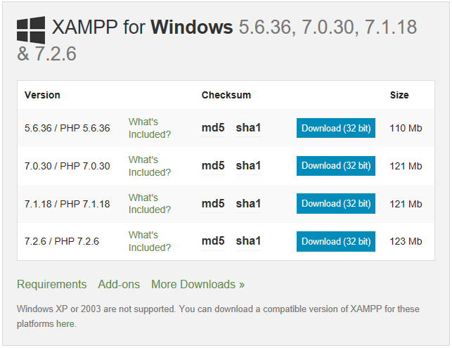 PHP version in Xampp for Windows