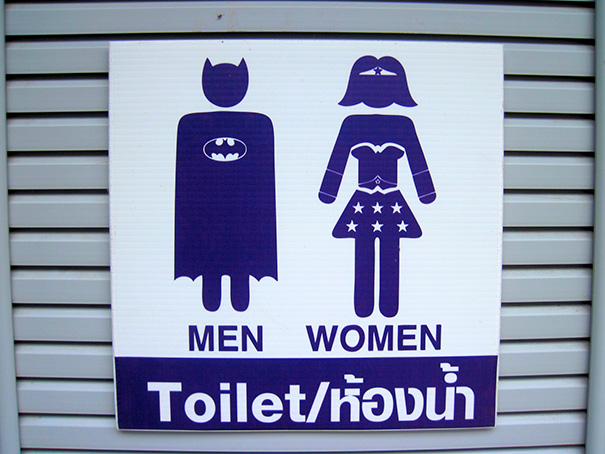 20+ Of The Most Creative Bathroom Signs Ever - Batman And Wonder Woman