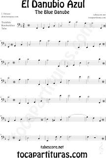 Partitura de El Danubio Azul para Trombón, Tuba y Bombardino en Clave de Fa de Johann Strauss. Trombone Sheet Music Classical music