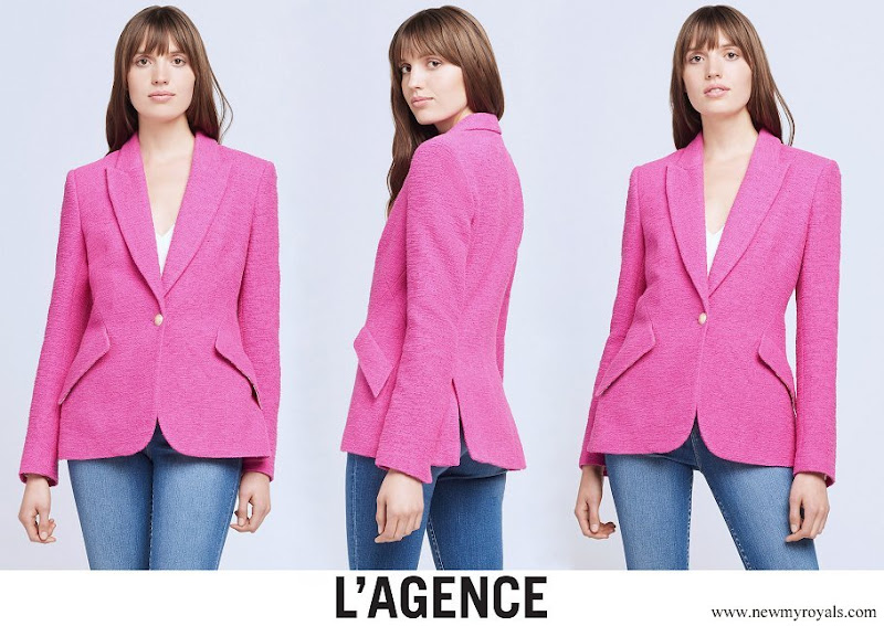 US First Lady Jill Biden wore a pink tweed blazer from L'agence