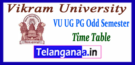 Vikram University ATKT 1st 3rd 5th UG PG Semester Time Table 2018-19 Admit Card