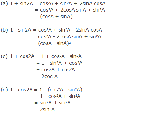 Some useful results on sin2A and cos2A