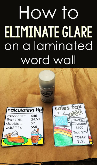 Are you looking for an easy way to get rid of the glare coming off your laminated classroom word wall and bulletin board references? I searched and searched for matte laminating pouches but came up empty! In this post is a simple - and even better - solution to eliminating glare from lamination so that your word walls can be easily read by students anywhere in your classroom!