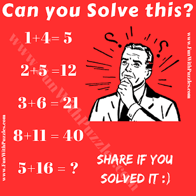 It is tricky logical Maths Problem in which one has to find hidden logical pattern to solve the given logical equation