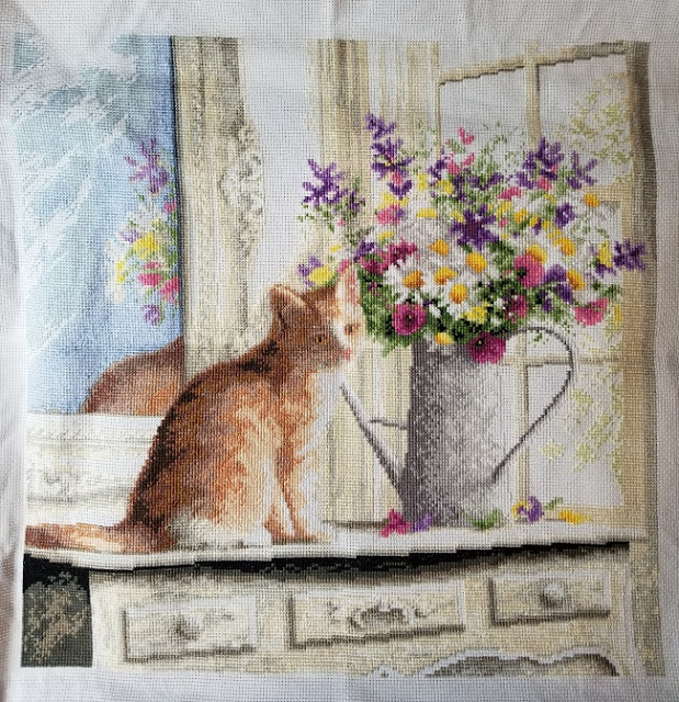 Kitten in the Window Cross Stitch Before