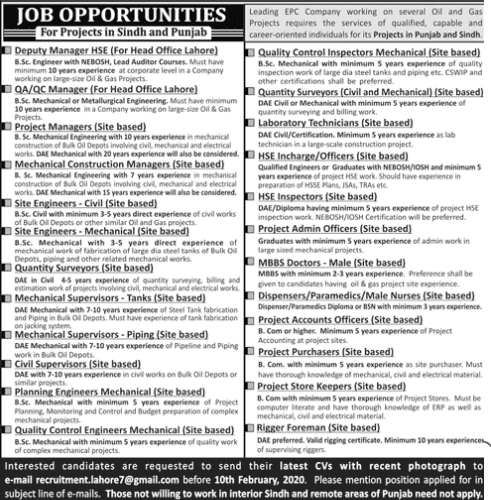 Jobs in EPC Company For Project Sindh and punjab 2020