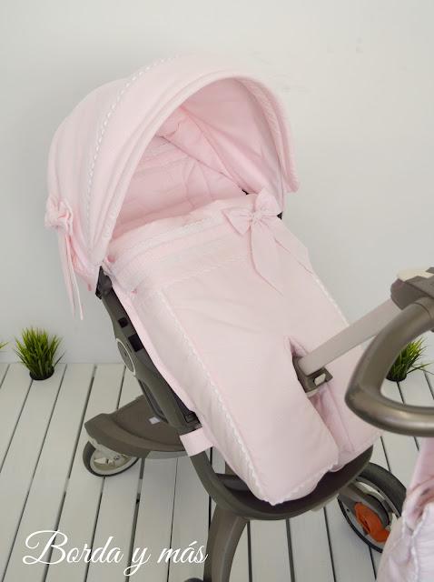 funda silla Stokke Xplory rosa blanco