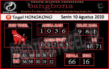 Prediksi Bangbona HK Senin 10 Agustus 2020