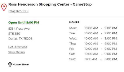 Gamestop Hours of Operations