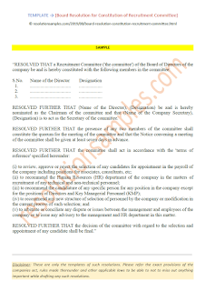 Board Resolution for Constitution of Recruitment Committee