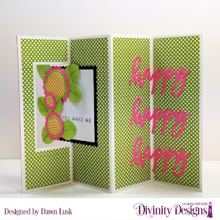 Divinity Designs Stamp/Die Duos: Happy, Custom Dies: Scalloped Circles, Scalloped Squares, Circles, Squares, Rose Leaves, Lever Card, Lever Card Layers, Paper Collection: Birthday Brights