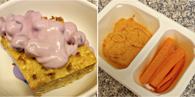 Baked apple and oat cake with blueberry yoghurt & Hummus
