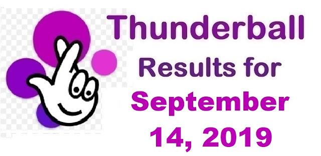 Thunderball results for Saturday, September 14, 2019
