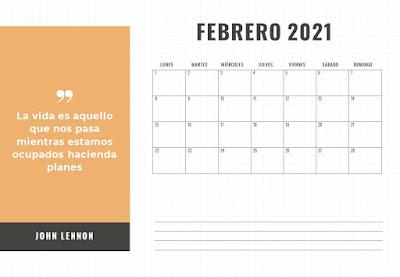 calendario, mensual, a4, descargar, gratis, horizontal, frases