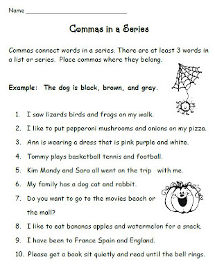 Printables Commas In A Series Worksheet smiling and shining in second grade commas a series series