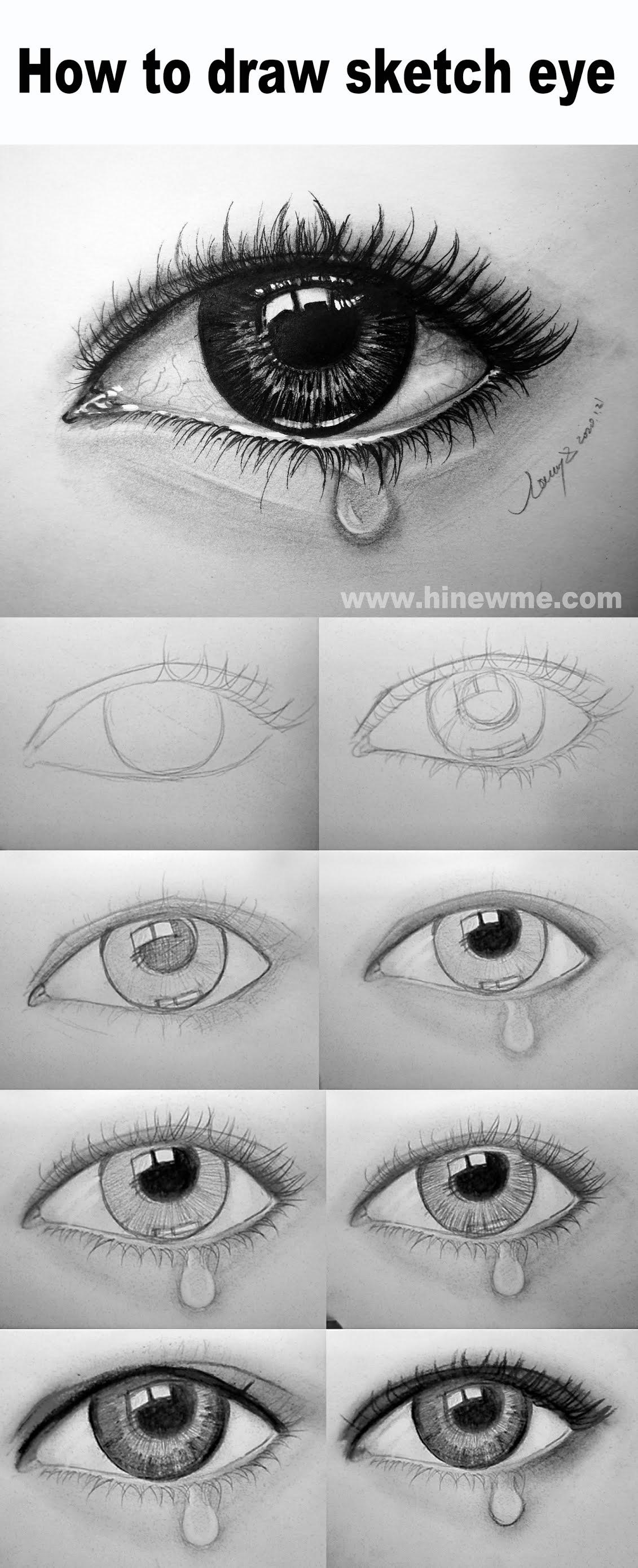 Drawing Of An Eye Crying : drawing, crying, Sketch, Crying, HiArt