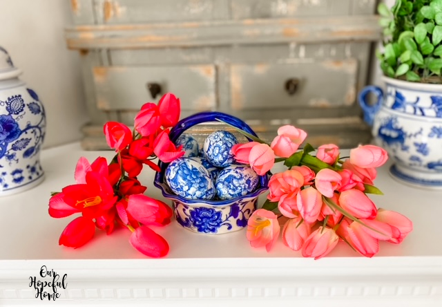 chinoiserie mantel decor DIY eggs basket tulips