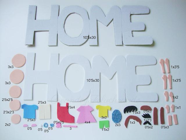 medidas y piezas letrero con familia fofucha en goma eva