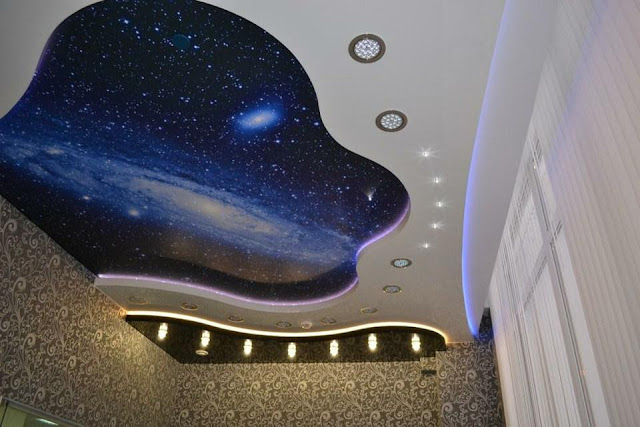 starry sky stretch ceiling designs for kids room interior