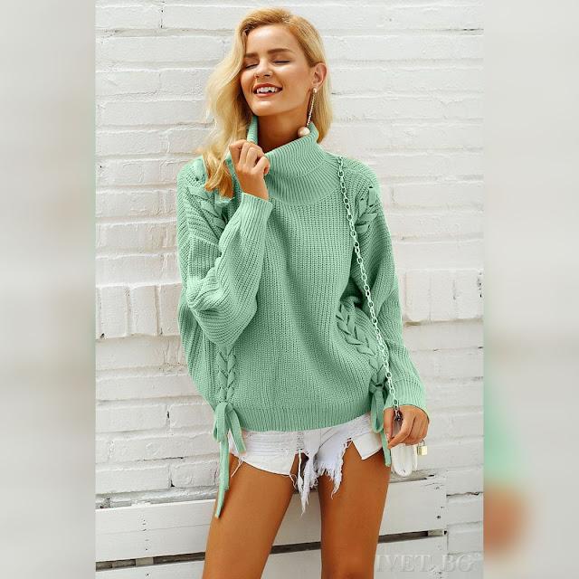 Μοντέρνο γυναικείο πουλόβερ LILAC MINT