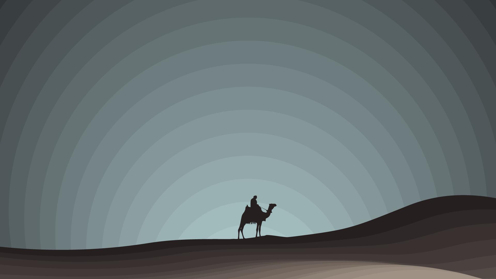 Desktop Wallpaper Minimalist Desert Night