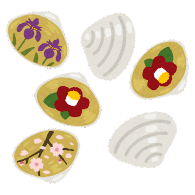 絵が描かれた貝殻のイラスト