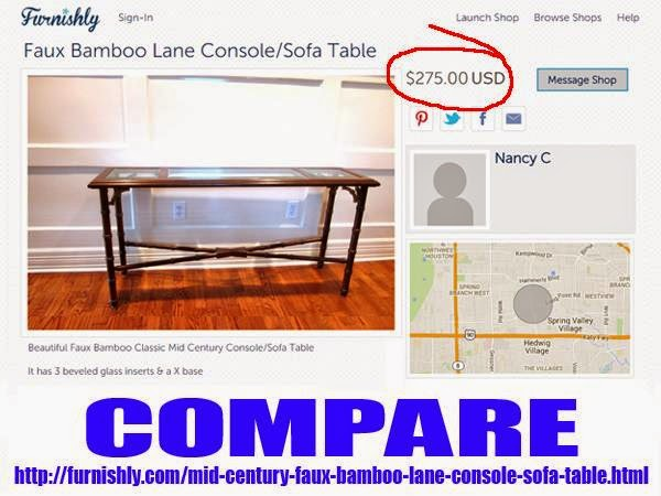 Mid Century LANE Furniture Faux Bamboo Sofa Table Oklahoma City