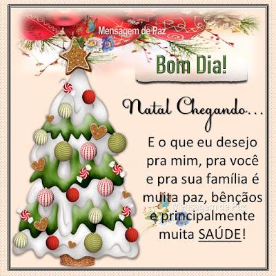Natal Chegando... E o que eu desejo pra mim, pra você e pra sua família é muita paz, bênçãos e principalmente muita SAÚDE! Bom Dia!