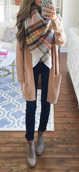 fall outfit inspiration / plaid scarf + cardigan + top + skinnies + boots