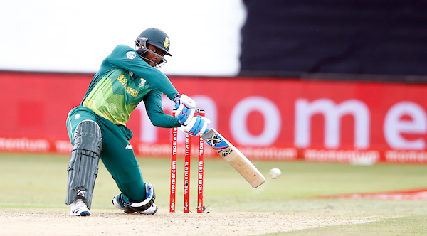 Andile Phlukwayo plays a shot through the off side for South Africa