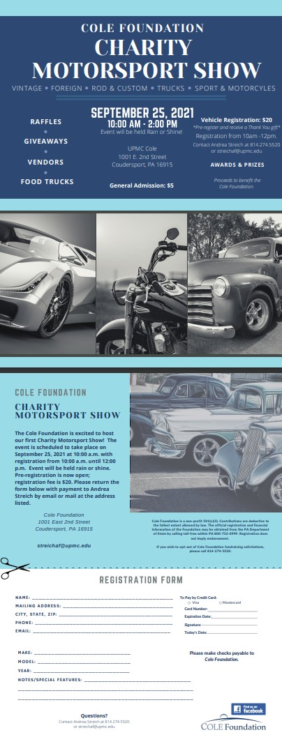 9-25 Cole Foundation Charity Motorsport Show