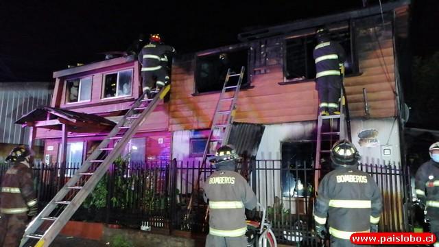 Osorno: Incendio daño 2 viviendas del sector de Rahue Alto Norte