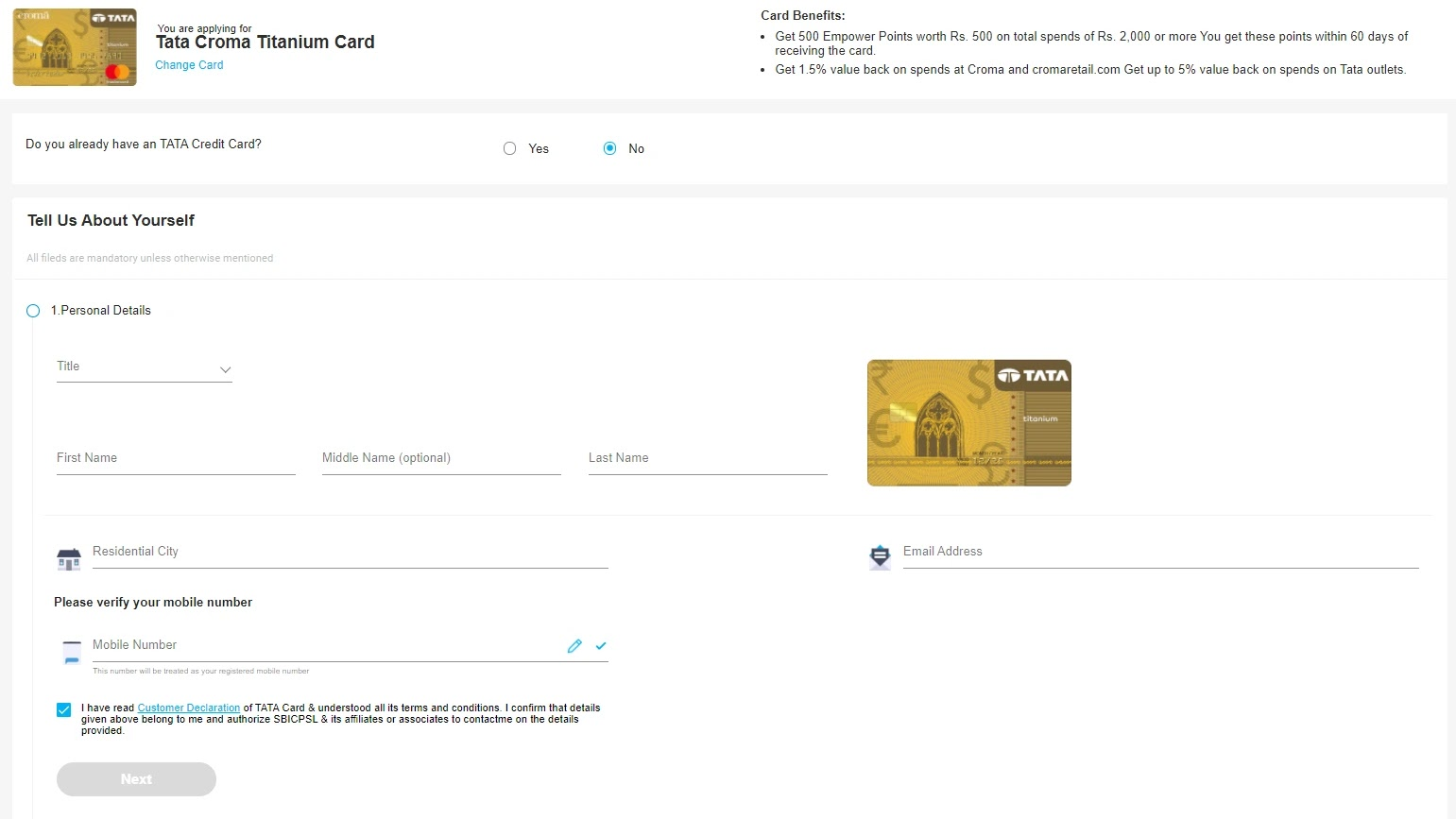 How to apply for SBI TATA Croma Titanium Card