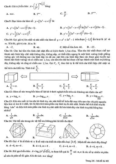 Đề thi học kì 1 toán 12 - có đáp án