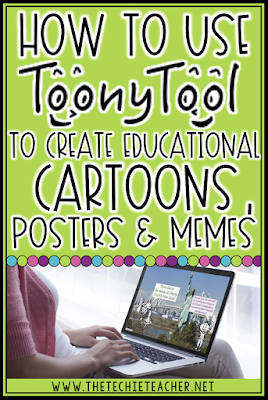 How to Use Toony Tool to Create Educational Cartoons, Posters or Memes for classroom projects. This free web tool will work on Chromebooks, laptops, computers or iPads!