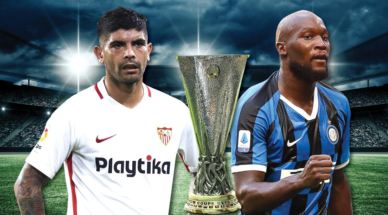 Sevilla's Ever Banega and Inter Milan's Romelu Lukaku