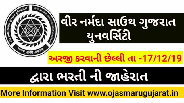 Veer Narmad South Gujarat University Public Relation Officer Requirement 2019