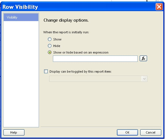 SSRS: Hide/Visible the particular row or column based on their