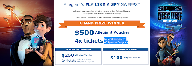 Allegiant is celebrating the new film Spies in Disguise by giving away free flights and free Fandango promo codes so you can fly like a spy this year!