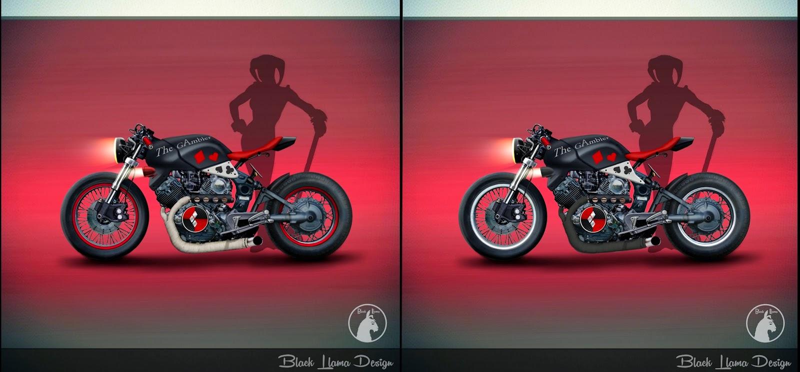LuisPeñaSketching: Harley Quinn motorcycle, THE GAMBLER CAFE RACER