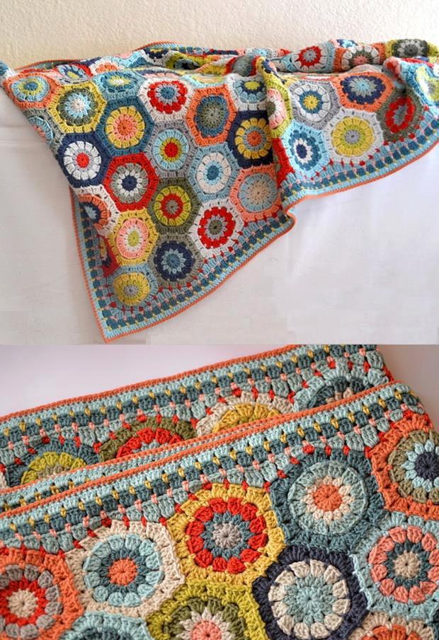 Crochet hexagon motif blanket border