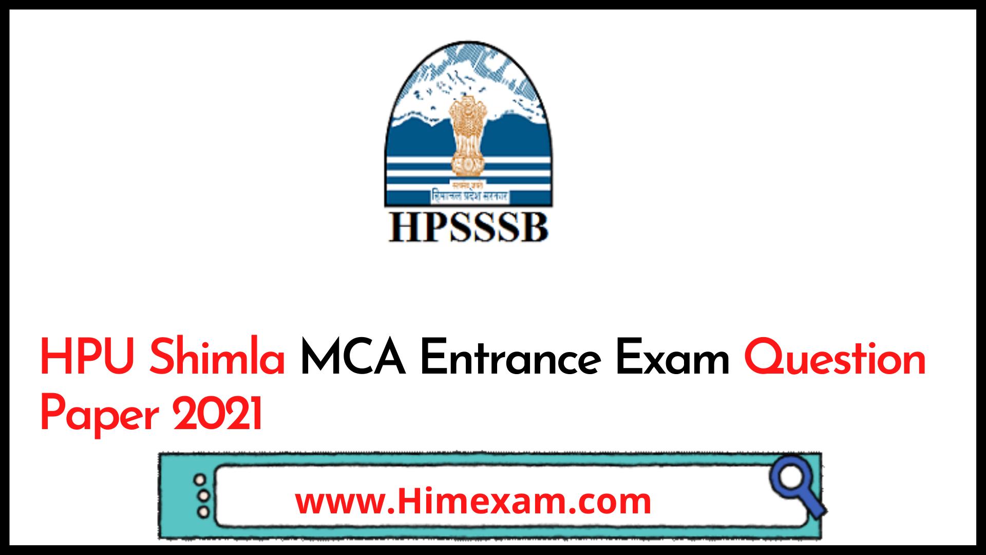HPU Shimla MCA Entrance Exam Question Paper 2021