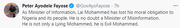 """""""At 69 years, it is a shame that he vomits evil words in his Brain through his septic-tank-like-mouth"""" - Fayose slams Lai Mohammed for saying security is better than it was in 2015"""