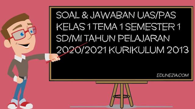 Download Soal & Kunci Jawaban UAS/PAS Kelas 1 Semester 1 SD/MI Tahun Pelajaran 2020/2021
